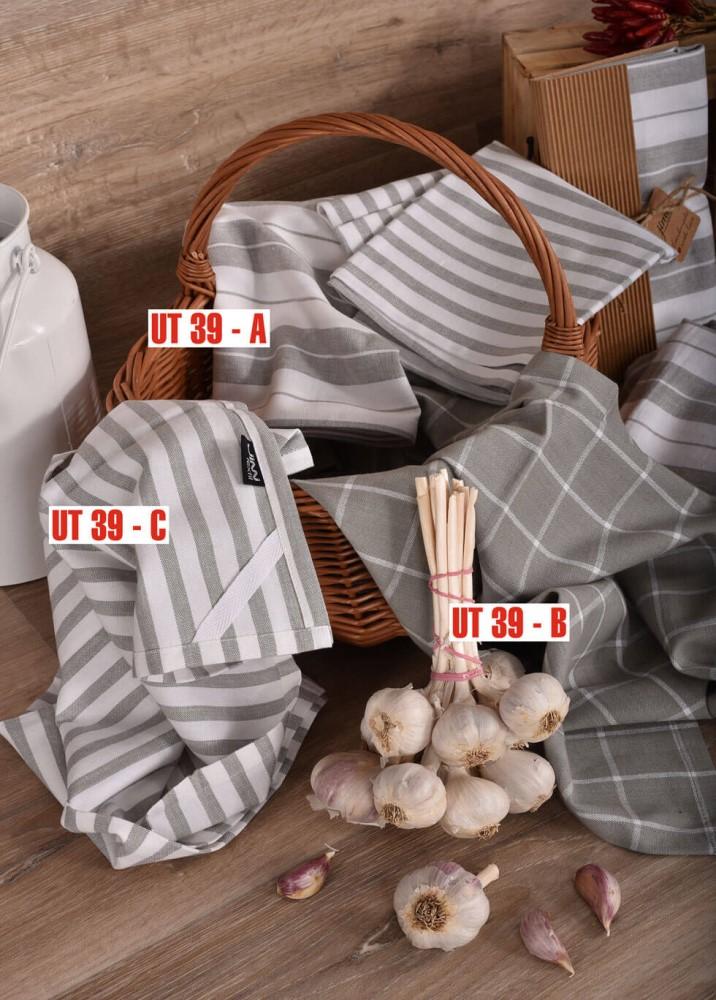 Šedobílé bavlněné utěrky UT39 JIMI Textil