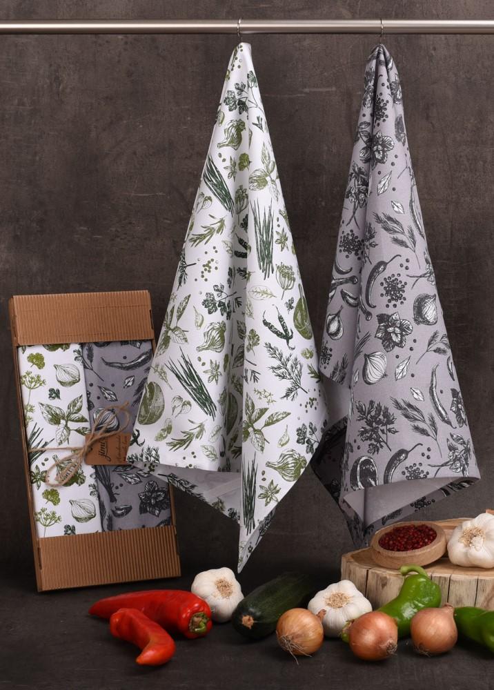 Savé bavlněné utěrky UT60 - Motiv zelenina / bylinky - JIMI Textil