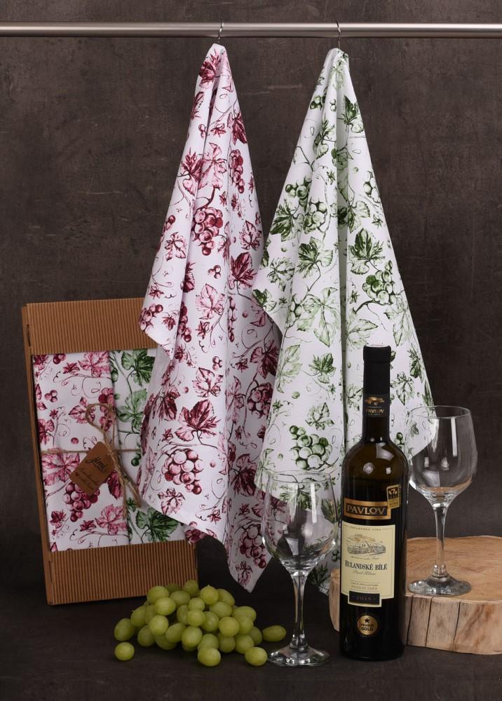 Bavlněné utěrky UT59 s motivem víno - JIMI Textil