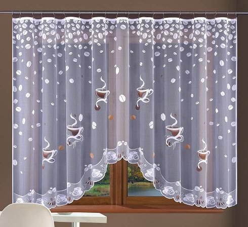 Hotová oblouková záclona žakarového typu s barevnými motivy