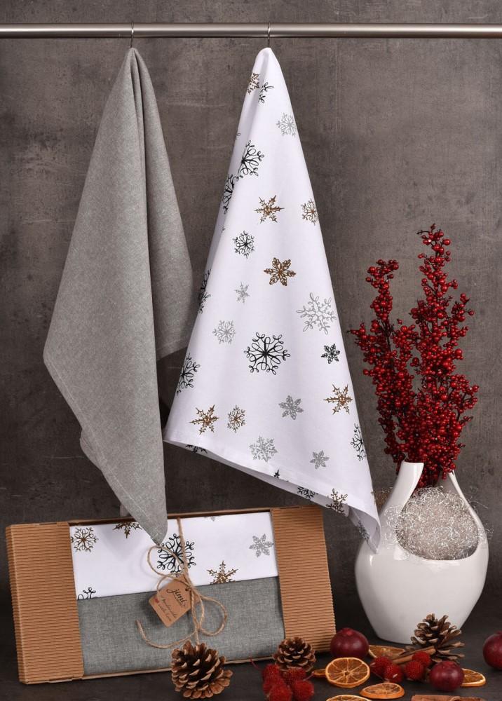 Bavlněné utěrky se zimním motivem sněhových vloček (UT42) - JIMI Textil