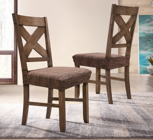 Hnědé elastické napínací potahy na sedáky židlí (EP3) - JIMI Textil