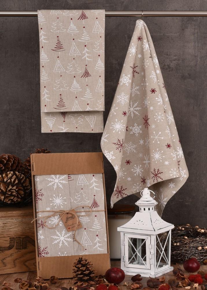 Vánoční utěrky UT41 - Sněhové vločky a vánoční stromečky - JIMI Textil