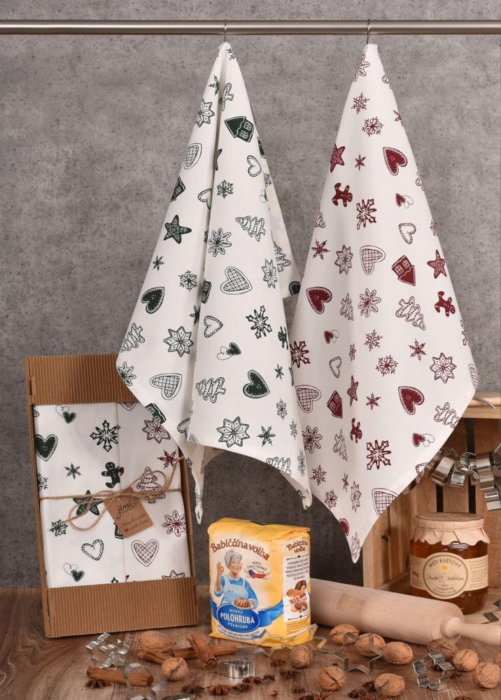 Vánoční bavlněné utěrky a motivem perníčků (UT43) - JIMI Textil