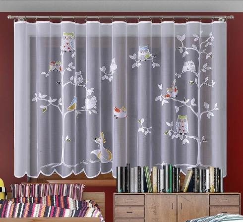Dětská žakarová záclona s barevnými motivy