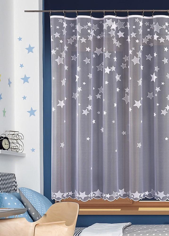Vánoční záclona s hvězdičkami. Zimní / vánoční / dětský motiv