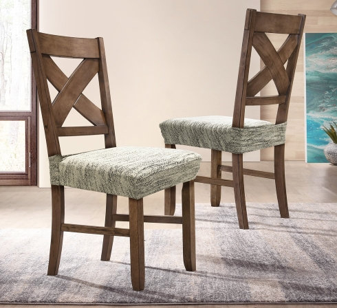 Krémové elastické napínací potahy na sedáky židlí (EP3) - JIMI Textil